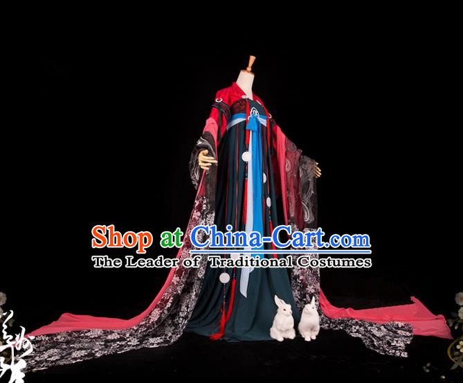 Traditional Asian Chinese Imperial Consort Costume, Elegant Hanfu Dance Wide Sleeves Dress, Chinese Imperial Princess Tailing Clothing, Chinese Fairy Princess Empress Queen Cosplay Costumes for Women