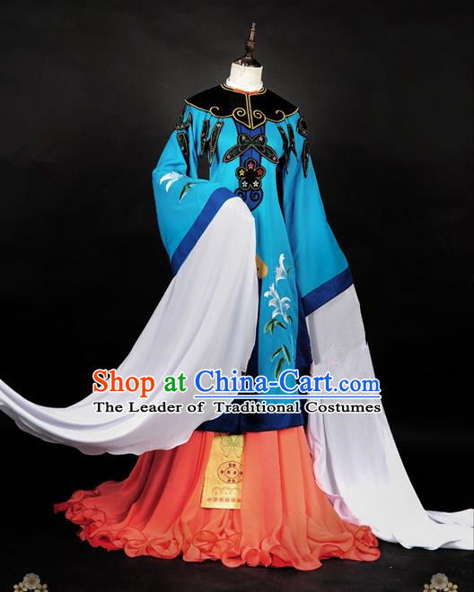 Traditional Asian Chinese Peking Opera Ancient Princess Costume, Elegant Hanfu Dance Water Sleeves Clothing, Chinese Imperial Princess Embroidered Butterfly Clothing, Chinese Fairy Princess Empress Queen Cosplay Costumes for Women