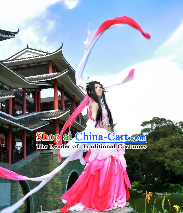 Traditional Asian Chinese Princess Costume, Elegant Hanfu Water Sleeve Lotus Dance Dress, Chinese Imperial Princess Tailing Clothing, Chinese Cosplay Fairy Princess Empress Queen Cosplay Costumes for Women