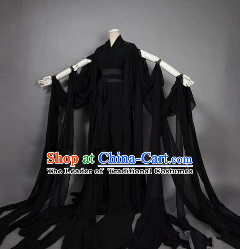 Traditional Asian Chinese Ancient Palace Princess Costume, Elegant Hanfu Black Dress, Chinese Imperial Princess Tailing Clothing, Chinese Cosplay Fairy Princess Empress Queen Cosplay Costumes for Women