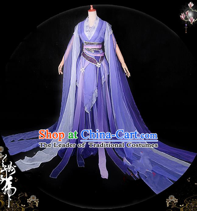 Traditional Asian Chinese Ancient Palace Princess Costume, Elegant Hanfu Violet Water Sleeve Dance Dress, Chinese Imperial Princess Tailing Embroidered Clothing, Chinese Cosplay Fairy Princess Empress Queen Cosplay Costumes for Women