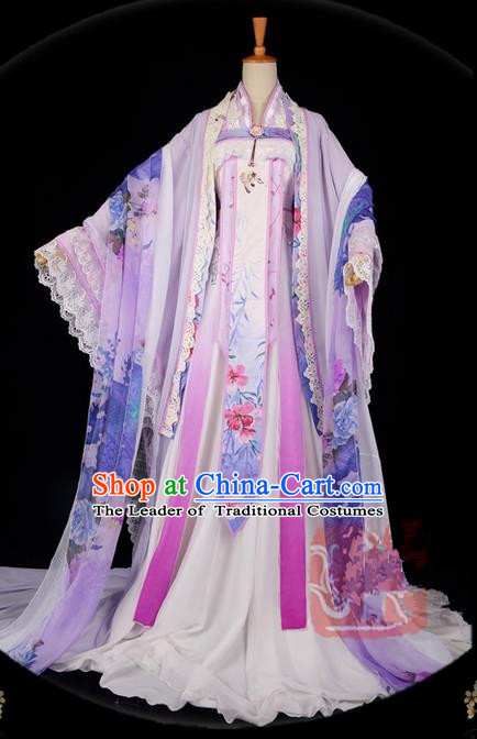 Traditional Asian Chinese Ancient Palace Princess Costume, Elegant Hanfu Embroidered Dress, Chinese Imperial Princess Tailing Embroidered Clothing, Chinese Cosplay Fairy Princess Empress Queen Cosplay Costumes for Women