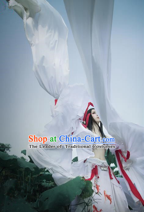 Traditional Ancient Chinese Palace Queen Costume, Elegant Hanfu Cosplay Fairy Water Sleeve Dance Dress Chinese Han Dynasty Imperial Empress Printing Carp Tailing Clothing for Women