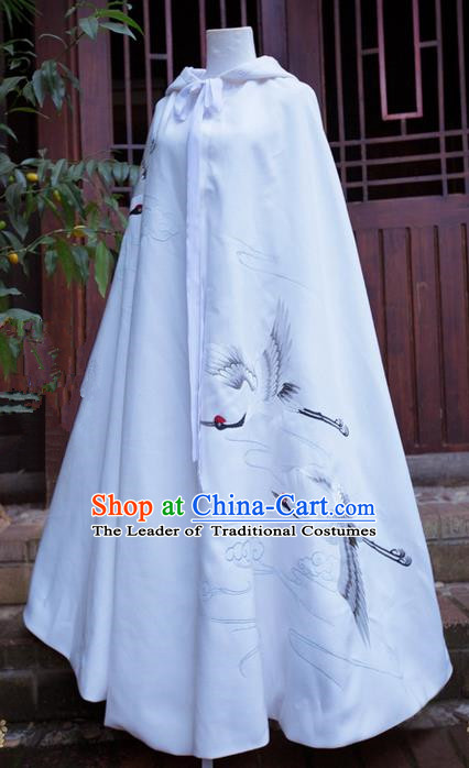 Traditional Asian Chinese Ancient Princess White Cloak Costume, Elegant Hanfu Mantle Clothing, Chinese Imperial Princess Embroidered Crane Hooded Cape Costumes for Women