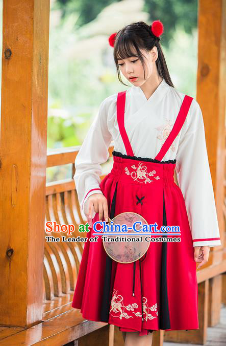 Traditional Ancient Chinese Female Costume Blouse and Dress Complete Set, Elegant Hanfu Dress Chinese Ming Dynasty Palace Lady Embroidered Deer Clothing for Women