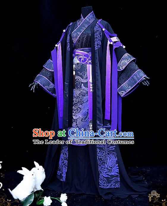 Traditional Ancient Chinese Palace King Costume, Elegant Hanfu Cosplay Emperor Dress Chinese Printing Dragon Swordsman Clothing for Men