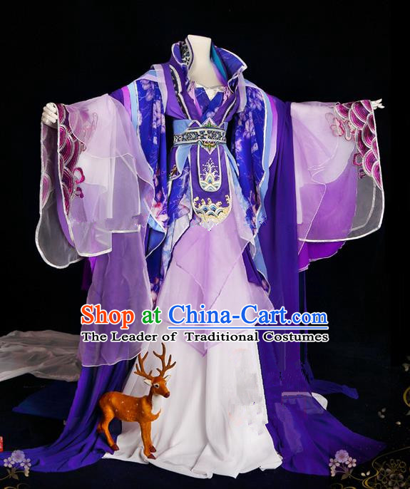 Traditional Ancient Chinese Palace Queen Costume, Elegant Hanfu Cosplay Fairy Purple Wide Sleeve Dress Chinese Tang Dynasty Imperial Empress Embroidery Flowers Tailing Clothing for Women