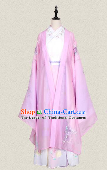 Traditional Ancient Chinese Female Costume Wide Sleeve Cardigan Blouse and Dress Complete Set, Elegant Hanfu Clothing Chinese Tang Dynasty Palace Lady Embroidered Pink Cassiae Clothing for Women