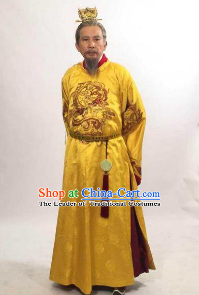 Traditional Ancient Chinese Imperial Emperor Costume, Elegant Hanfu Palace King Robe, Chinese Tang Dynasty Majesty Embroidered Dragon Clothing for Men