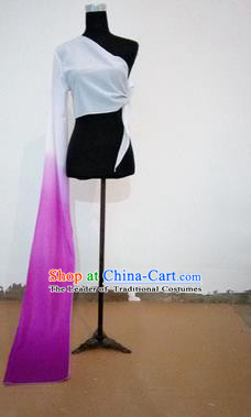 Traditional Chinese Long Sleeve Single Water Sleeve Dance Suit China Folk Dance Koshibo Long  Violet and White Gradient Ribbon for Women