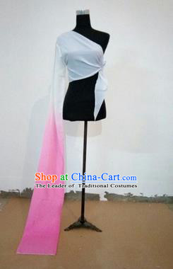 Traditional Chinese Long Sleeve Single Water Sleeve Dance Suit China Folk Dance Koshibo Long Pink and White Ribbon for Women