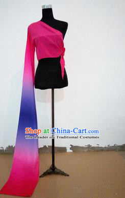 Traditional Chinese Long Sleeve Single Water Sleeve Dance Suit China Folk Dance Koshibo Long Pink and Purple Ribbon for Women