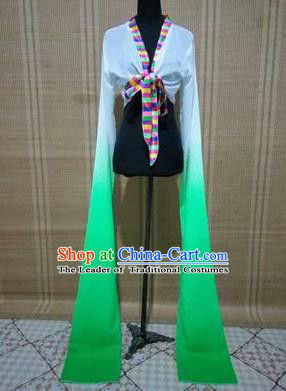 Traditional Chinese Long Sleeve Tibetan Nationality Water Sleeve Dance Suit China Folk Dance Koshibo Long White and Green Gradient Ribbon for Women