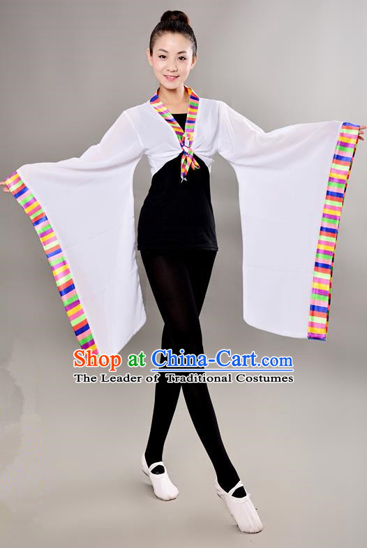 Traditional Chinese Tibetan Nationality Wide Sleeve Water Sleeve Dance Suit China Folk Dance Koshibo White Blouse for Women
