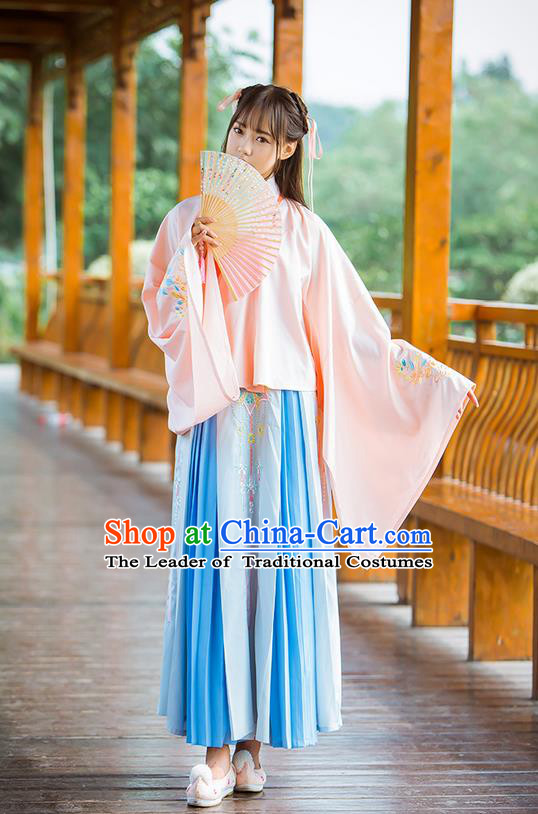 Traditional Ancient Chinese Female Costume Wide Sleeve Blouse and Skirt Complete Set, Elegant Hanfu Clothing Chinese Ming Dynasty Palace Lady Embroidered Peony Clothing for Women