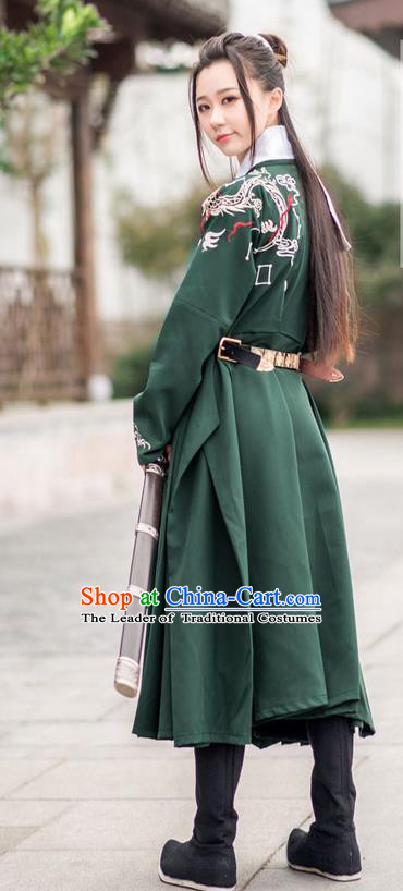 Traditional Ancient Chinese Female Swordsman Costume Complete Set, Elegant Hanfu Clothing Chinese Ming Dynasty Palace Imperial Bodyguard Embroidered Dragon Deep Green Clothing for Women