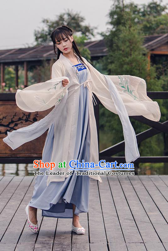 Traditional Ancient Chinese Female Costume Cardigan and Dress Complete Set, Elegant Hanfu Clothing Chinese Tang Dynasty Palace Princess Embroidered Orchid Clothing for Women