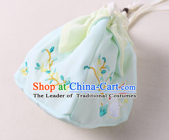 Traditional Ancient Chinese Embroidered Handbags Hanfu Embroidered Rabbit Flowers Square Light Green Bag for Women
