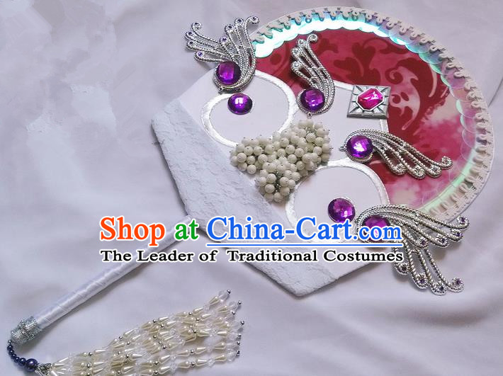 Traditional Chinese Handmade Ancient Hanfu Pearl Fan Props for Women