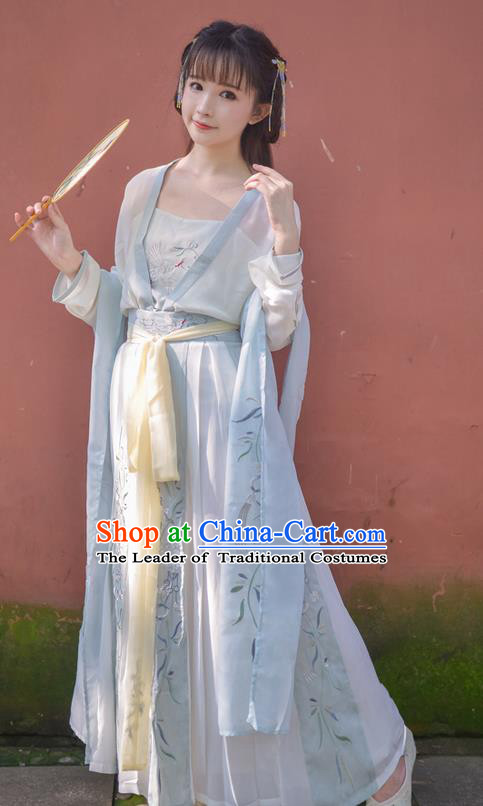 Traditional Ancient Chinese Female Costume Blouse and Dress Complete Set, Elegant Hanfu Clothing Chinese Tang Dynasty Palace Princess Embroidered Crane Clothing for Women