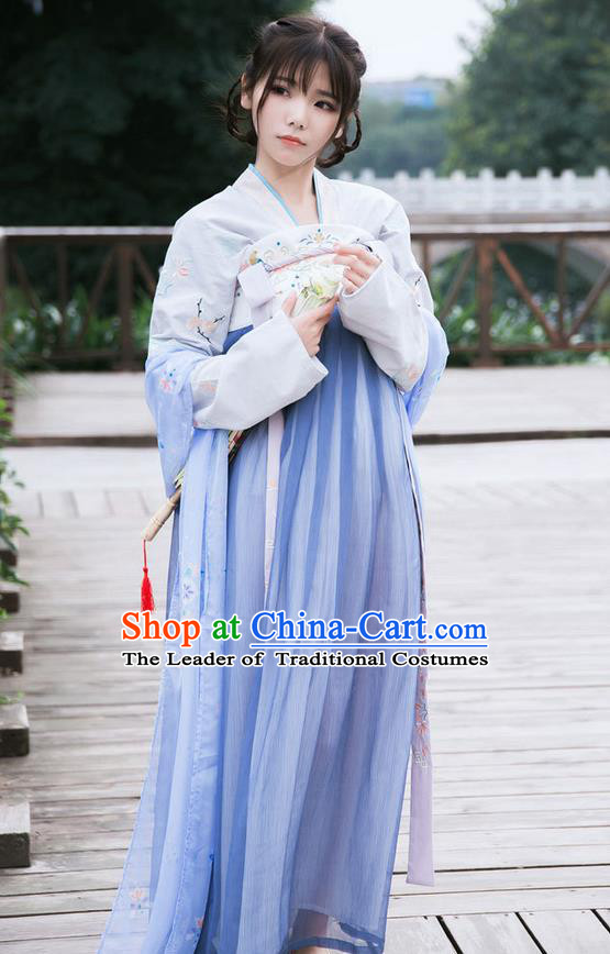 Traditional Ancient Chinese Female Costume Blouse and Dress Complete Set, Elegant Hanfu Clothing Chinese Tang Dynasty Palace Princess Embroidered Lotus Clothing for Women