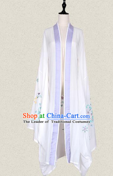 Traditional Ancient Chinese Female Costume Wide Sleeve Cardigan, Elegant Hanfu Clothing Chinese Tang Dynasty Embroidering Palace Princess Clothing for Women