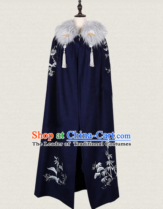 Traditional Ancient Chinese Female Costume Woolen Cardigan, Elegant Hanfu Long Cloak Chinese Ming Dynasty Palace Lady Embroidered Bamboo Navy Cape Clothing for Women