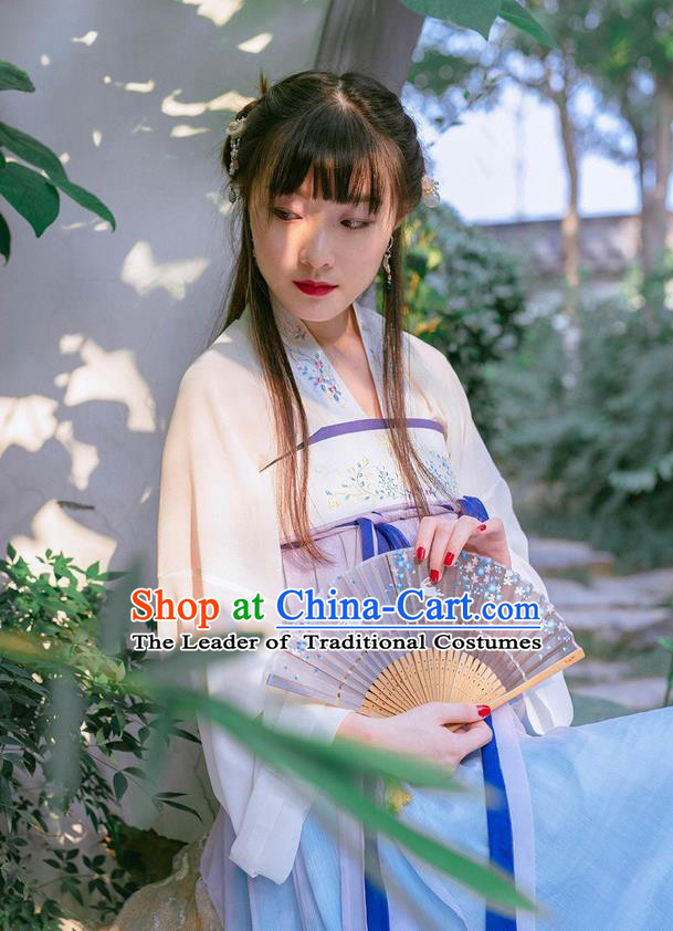 Traditional Ancient Chinese Female Costume Lilac Blouse and Dress Complete Set, Elegant Hanfu Clothing Chinese Tang Dynasty Embroidered Palace Princess Clothing for Women