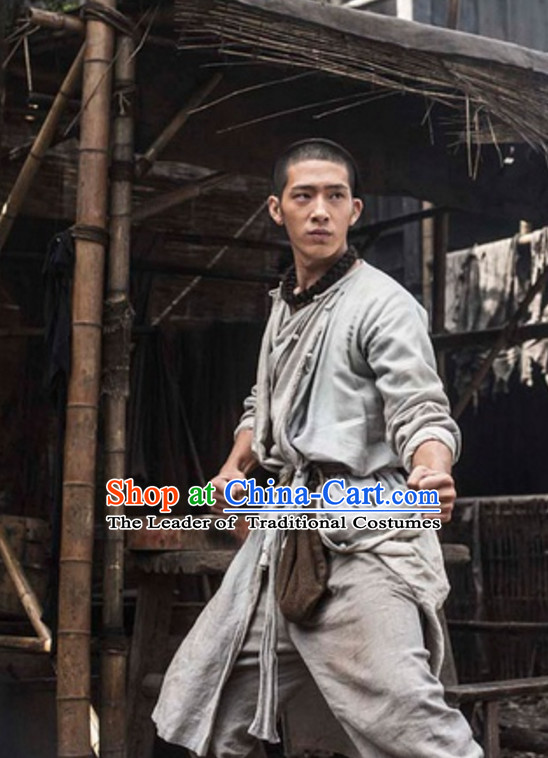 Ancient Chinese Light Grey Kung Fu Uniform for Men