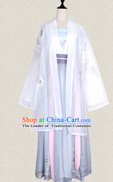 Traditional Ancient Chinese Female Costume Wide Sleeve Cardigan, Elegant Hanfu Clothing Chinese Tang Dynasty Embroidering Butterfly Palace Princess Clothing for Women