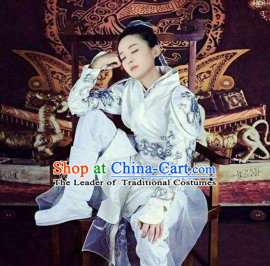 Traditional Ancient Chinese Imperial Bodyguard Costume, Elegant Hanfu Swordswoman Robe, Chinese Swordsman Cosplay Embroidered Clothing for Women