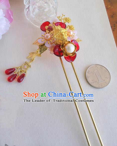 Traditional Handmade Chinese Ancient Princess Classical Accessories Jewellery Pure Copper Coloured Glaze Hair Sticks Hair Jewellery, Pearl Hair Fascinators Hairpins for Women