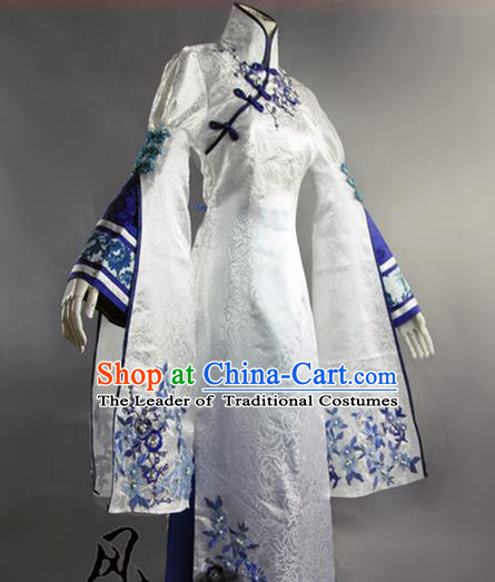 Traditional Ancient Chinese Imperial Consort Costume Blue and White Cheongsam, Elegant Hanfu Clothing Chinese Qing Dynasty Manchu Imperial Empress Cosplay Fairy Tailing Embroidered Cheongsam for Women
