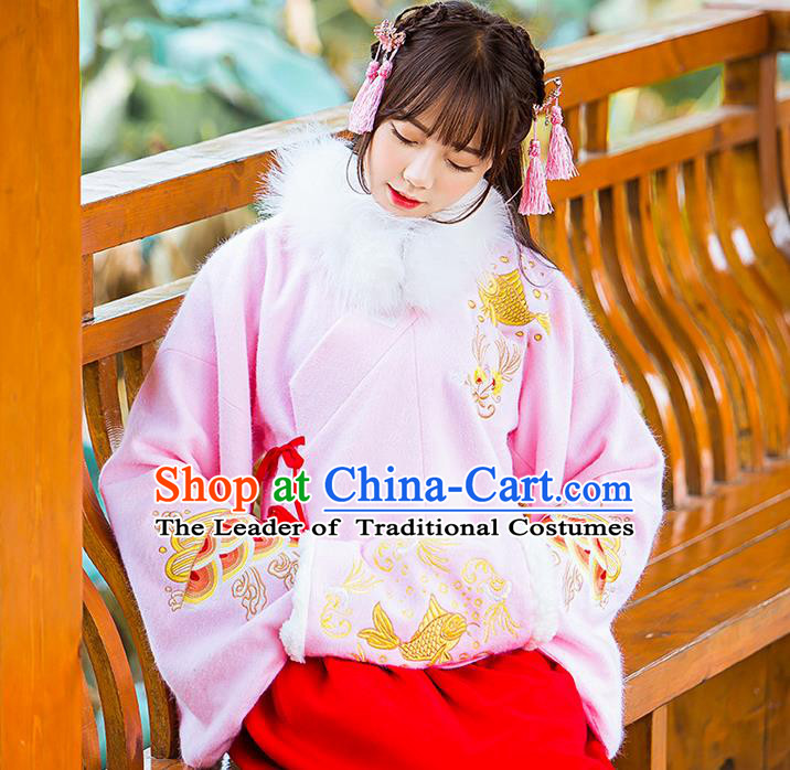 Traditional Ancient Chinese Embroidered Hanfu Muff Embroidered Carp Pink Handwarmers for Women