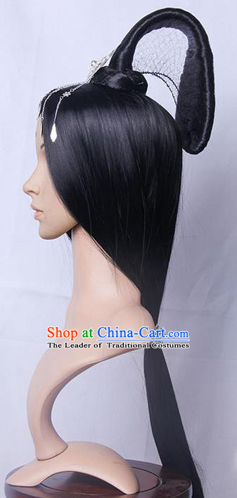 Traditional Handmade Ancient Chinese Han Dynasty Princess Wig, Ancient Chinese Palace Empress Wig for Women