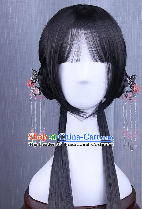 Traditional Handmade Ancient Chinese Han Dynasty Princess Hair Decoration and Wig Complete Set, Ancient Chinese Palace Lady Headwear and Wig for Women