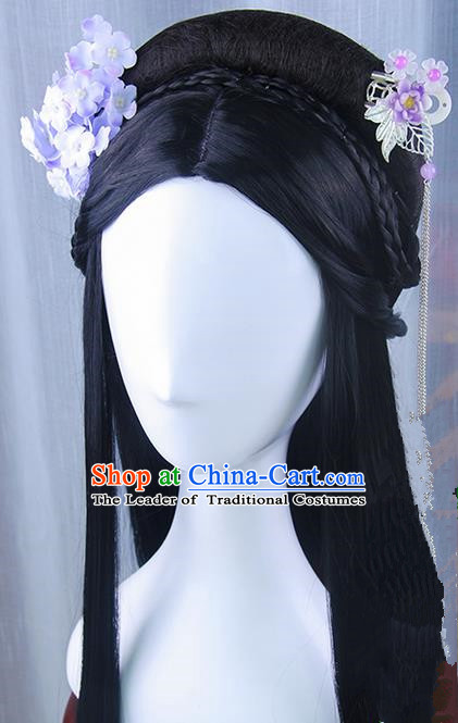 Traditional Handmade Ancient Chinese Han Dynasty Imperial Princess Hair Decoration and Wig Complete Set, Ancient Chinese Palace Lady Headwear and Wig for Women