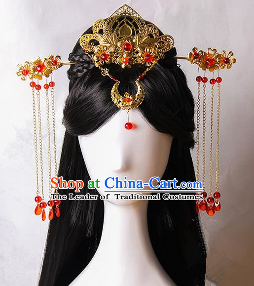 Traditional Handmade Ancient Chinese Tang Dynasty Imperial Empress Wedding Hair Decoration and Wig Complete Set, Ancient Chinese Cosplay Fairy Queen Bride Headwear and Wig for Women