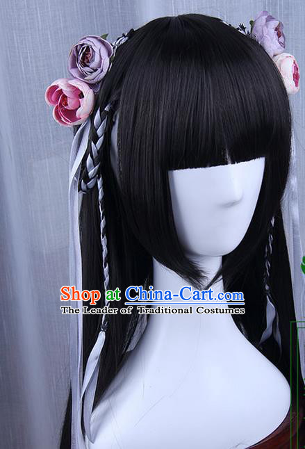 Traditional Handmade Ancient Chinese Han Dynasty Imperial Princess Hair Decoration and Wig Complete Set, Ancient Chinese Hanfu Cosplay Fairy Young Lady Headwear and Wig for Women