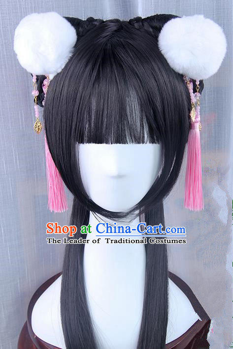 Traditional Handmade Ancient Chinese Han Dynasty Imperial Princess Hair Decoration and Hair Wig Complete Set, Ancient Chinese Young Lady Headwear and Wig for Women