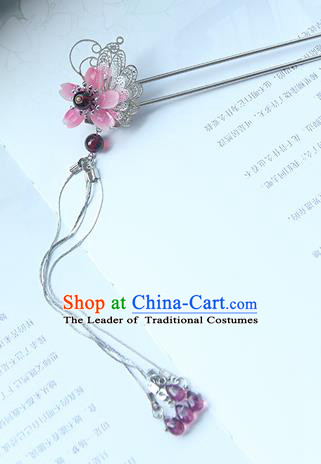 Traditional Handmade Chinese Ancient Princess Classical Hanfu Accessories Jewellery Pink Butterfly Hair Sticks Hair Step Shake, Tassel Hair Fascinators Hairpins for Women