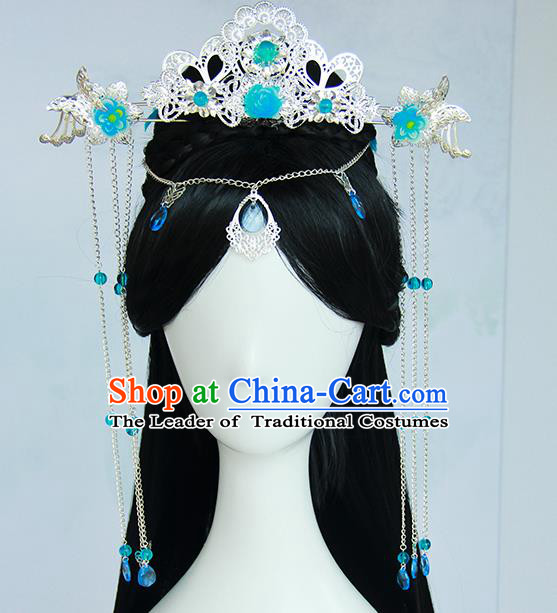 Traditional Handmade Ancient Chinese Han Dynasty Imperial Princess Blue Hair Decoration and Wig Complete Set, Ancient Chinese Hanfu Cosplay Fairy Young Lady Headwear and Wig for Women
