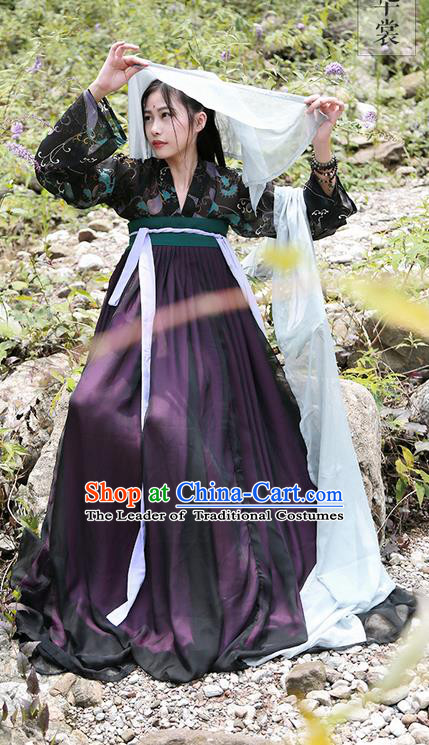 Traditional Ancient Chinese Imperial Consort Costume Printing Blouse, Elegant Hanfu Clothing Chinese Tang Dynasty Palace Princess Dress for Women