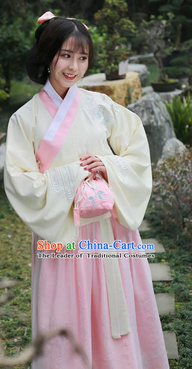 Traditional Ancient Chinese Female Costume Embroidered Flowers Blouse and Dress Complete Set, Elegant Hanfu Clothing Chinese Ming Dynasty Embroidered Palace Princess Clothing for Women