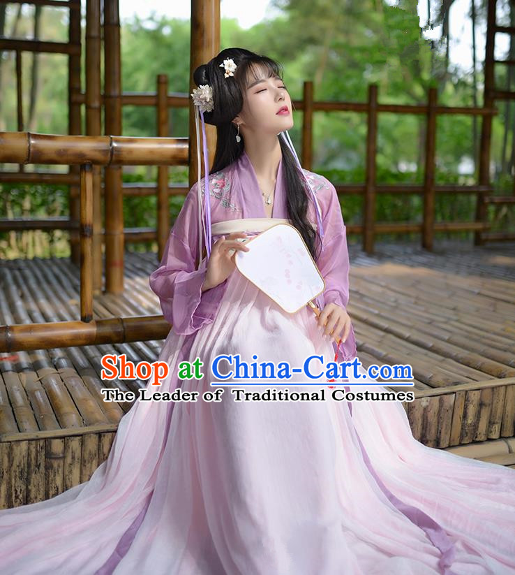 Traditional Ancient Chinese Female Costume Embroidered Flowers Lilac Blouse and Dress Complete Set, Elegant Hanfu Clothing Chinese Tang Dynasty Embroidered Palace Princess Clothing for Women