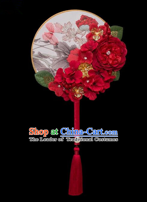 Traditional Handmade Chinese Ancient Classical Wedding Accessories, Bride Wedding Flowers Round Fan, Hanfu Xiuhe Suit Palace Red Fan for Women