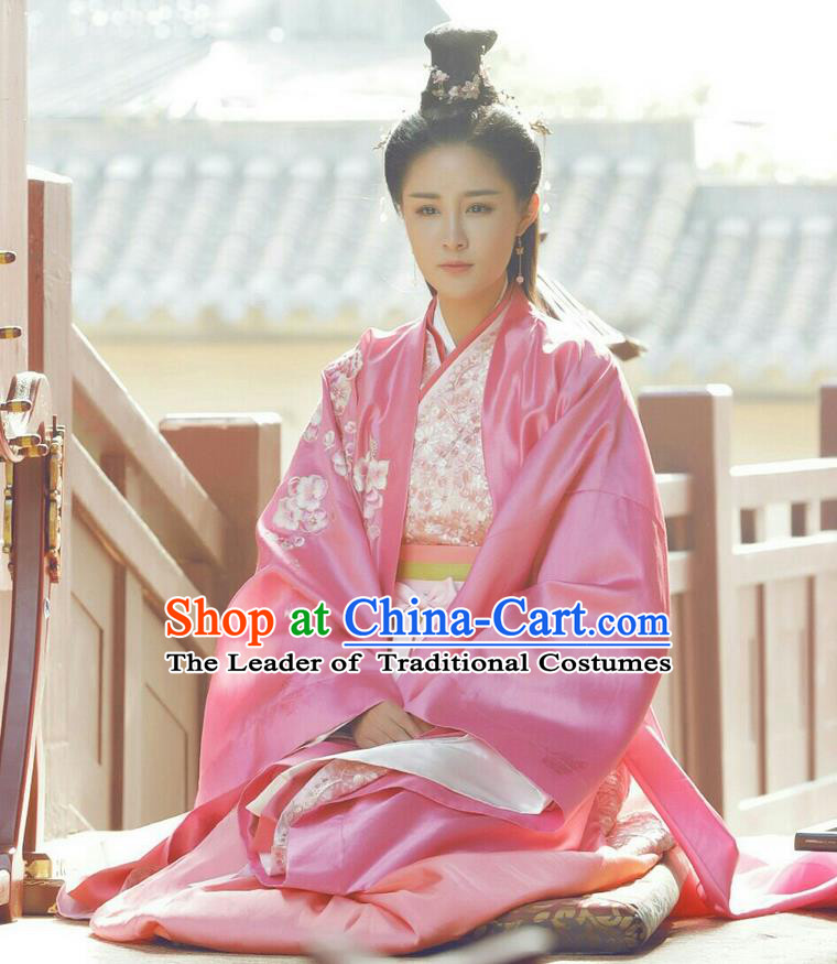 Traditional Ancient Chinese Imperial Consort Costume, Elegant Hanfu Palace Lady Dress Han Dynasty Imperial Concubine Embroidered Tailing Clothing for Women