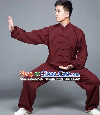 Traditional Chinese Top Flax Kung Fu Costume Martial Arts Kung Fu Training Red Uniform, Tang Suit Gongfu Shaolin Wushu Clothing, Tai Chi Taiji Teacher Suits Uniforms for Men