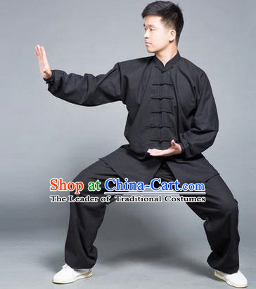 Traditional Chinese Top Flax Kung Fu Costume Martial Arts Kung Fu Training Black Uniform, Tang Suit Gongfu Shaolin Wushu Clothing, Tai Chi Taiji Teacher Suits Uniforms for Men