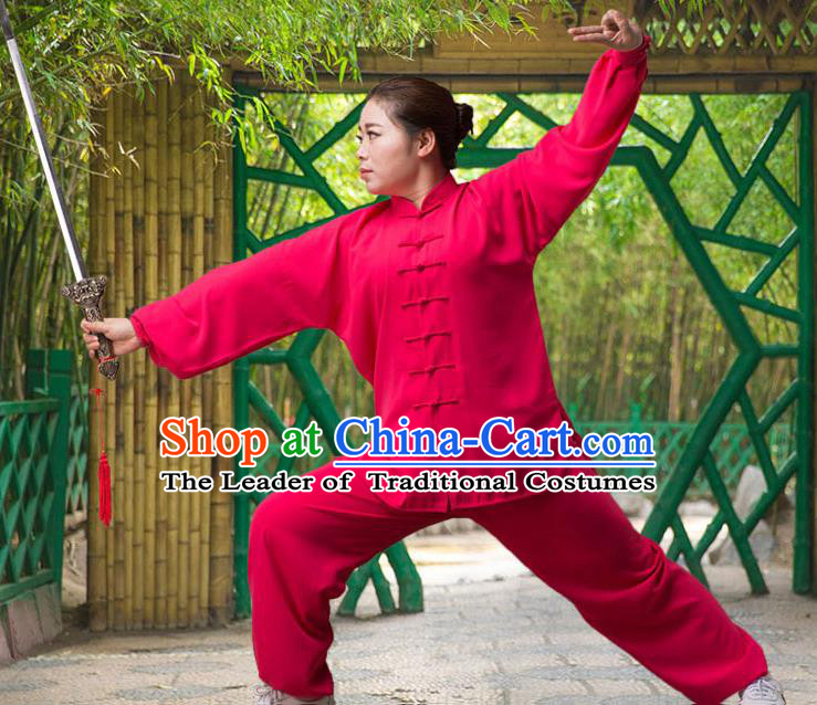Traditional Chinese Top Silk Cotton Kung Fu Costume Martial Arts Kung Fu Training Long Sleeve Red Uniform, Tang Suit Gongfu Shaolin Wushu Clothing, Tai Chi Taiji Teacher Suits Uniforms for Women